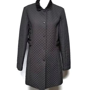 Larry Levine Grey Quilted Faux Fur Full Jacket